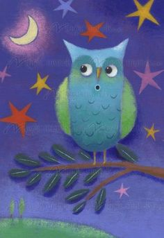 """""""Night Owl"""" moonlight mural by Steve Haskamp.  Available for purchase at Magical Murals: http://www.magicmurals.com/store/night-owl-p2085/   #stevehaskamp #owl #owls #mural"""