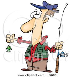 Disappointed Fisherman With a Very Small Fish Clipart Illustration by Ron Leishman #5688