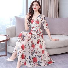 2019 New Women Vintage Floral Print Chiffon Plus Size Dress Fashion V Neck Boho Dress Bohemian A-Line Flare Sleeve Midi Dress Stylish Dresses For Girls, Simple Dresses, Cheap Dresses, Korean Fashion Dress, Women's Fashion Dresses, Fancy Dress Design, Shirred Dress, Kurti Designs Party Wear, Black Party Dresses
