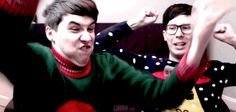 THE PASSION IN DAN'S EXPRESSION AND PHIL WITH HIS GLASSES ANF TH AWKWARD HIGH 5/FIST BUMP STOPPP<<<repinning for relatable feels