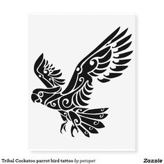 Tribal Cockatoo parrot bird tattoo Temporary Tattoos