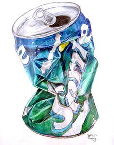 I think that this can is a very good drawing because it shows the darker places with shadow and the lighter places with white. But there is no shadow or table behind it so it looks like it is floating.