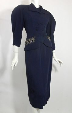 Beaded Blue 1940s Jacket & Dress Set by Paul Sachs