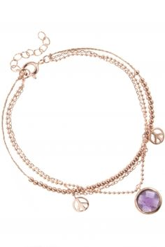 rose gold plated #bracelet with #peace and amethyst pendant I designed for NEW ONE I NEWONE-SHOP.COM