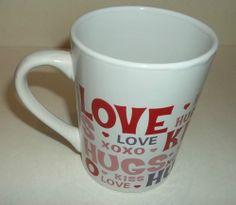 Valentines Mug Cup With Love Kiss Hugs Xoxo 14oz New