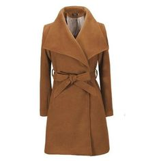 WealFeel Woolen Belted Trench Coat ($43) ❤ liked on Polyvore featuring outerwear, coats, trench coat, wool trench coat, wool coat, woolen coat and brown coat