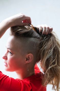Real Girl, Real Beauty: Delaney Wessel Dishes On Her Dope 'Do My Hairstyle, Undercut Hairstyles, Cool Hairstyles, Shaved Hairstyles, Fringe Hairstyle, Oval Face Hairstyles, Hairstyle Ideas, Long Hair Shaved Sides, Shaved Hair Women
