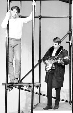Brian and Carl Wilson at a TV show rehearsal in the mid-1960s.