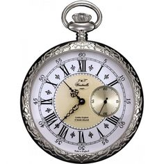 Gents Open Face Patterned Mechanical Pocket Watch