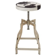 DecMode Round Backless Adjustable Height Metal/Hide Barstool - 8089