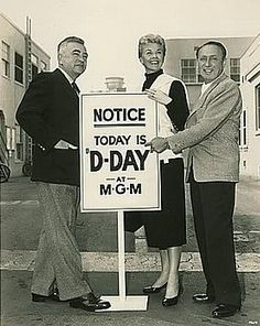 "2/28/14 2:44a ""Love Me or Leave Me""   Director Charles Vidor, Star Doris Day and Producer Joe Pasternak pub shot on the MGM lot - Culver City, Cali - 1955"