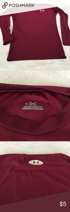 "Men's Long Sleeve Under Armour Shirt Size large Under Armour shirt in a dark maroon color. Has the name ""Bobby"" written on back outside label but otherwise in great condition. Under Armour Shirts Tees - Long Sleeve"