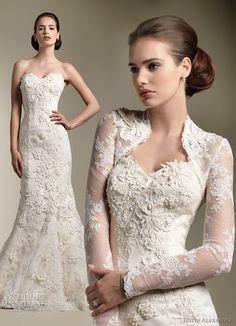 justin alexander 8605 wedding dress and long sleeve lace bolero jacket