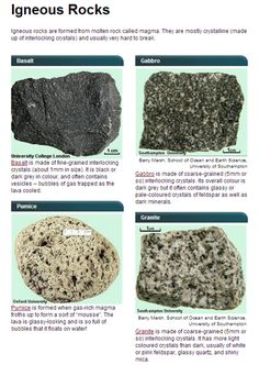 Ignous Rocks Minerals And Gemstones, Crystals Minerals, Rocks And Minerals, Stones And Crystals, Earth Science, Rock Science, Rock Identification, Formations Rocheuses, Rock Tumbling