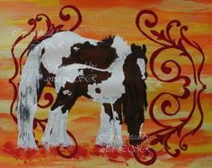 """""""Playing hide and seek"""" -acrylic painting by Lucka. Gypsy Vanner horses, pintos."""