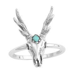 Image Of Sterling Silver Turquoise Third Eye Antler Skull Ring Garden Waterfalldeer