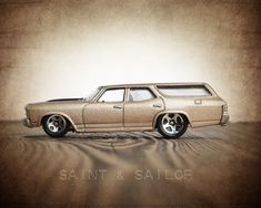 Vintage Muscle Car Beige 1970 Chevelle Wagon
