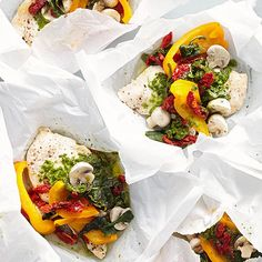 Parchment paper isn't just for cookies. Fill the baking staple with chicken breasts topped in colorful peppers, mushrooms, and a spoonful of pesto. Dinner in the microwave has never been classier. /