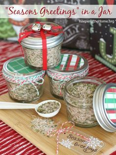 """""""Seasons Greetings"""" Homemade Gift in a Jar – This mix is a fun way to teach your children how to make gifts from the heart."""