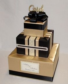 Gold and Black Wedding Card Box от ExoticWeddingBoxes на Etsy