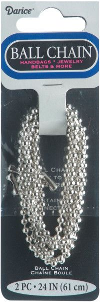 darice metal plated silver ball chain - 3.2mm