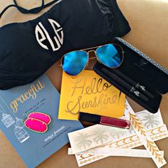Repost from one of our fav stylists @peytonlocicero of Spring Break essentials, including our Monogrammed bikini top. Love the 3-D Mascara too!