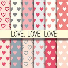 Love patterns  Pink & Grey hearts Printable by babushkadesign
