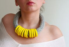 Bold Fabric Necklace in Gray tshirt yarn and Lemon Yellow Polymer Clay Rings on Etsy, $49.43