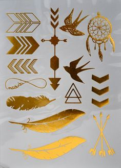 Birds and feathers Metallic Tattoo Bracelet Gold  Flash by LeoToro