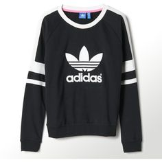 Adidas Logo Crew Sweatshirt (515 NOK) ❤ liked on Polyvore featuring tops, hoodies, sweatshirts, sweaters, shirts, black, embroidered shirts, black sweatshirt, raglan shirts and loose black shirt