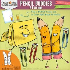 The characters in this Pencil Buddies and Friends Clip Art Set are the kind of office supplies that have fun when youre not looking. The pencils are best friends and are proud of it. Super Sticky Note Man is ready to swoop in and rescue you from a note-taking disaster.