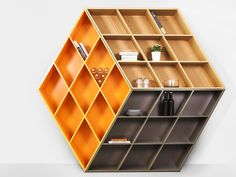 Open lacquered solid wood bookcase RUBIKA by Anesis design George Bosnas
