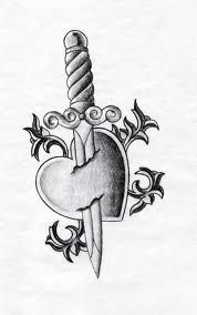 Heart and dagger tattoo design. Heart and Dagger Tattoo Sad Drawings, Dark Art Drawings, Tattoo Design Drawings, Art Drawings Sketches Simple, Broken Heart Drawings, Broken Heart Tattoo, Heart Tattoos, Broken Heart Art, Heartbroken Drawings