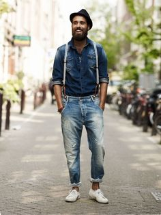 denim x denim + suspenders // men's casual street style + fashion