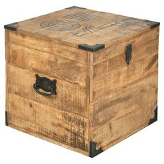 Stow accents and throws in this handcrafted mango wood trunk, featuring reinforced corners and a weathered carte postale motif.  Pro...