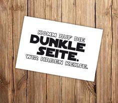 "Postkarte ""Komm auf die dunkle Seite"" // postcard ""Dark side"" by W drei10 via DaWanda.com"