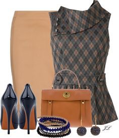 """Camel Pencil Skirt"" by jenalind ❤ liked on Polyvore"