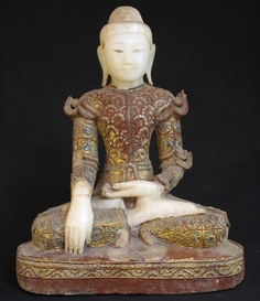 Antique Burmese Buddha [Material: Marble] [46,5 cm high] [Early 19th century] [Mandalay style] [Bhumisparsha Mudra] [Originating from Burma]