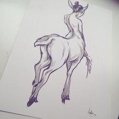 """regram @audraauclair Centaur study.  I love using my brush pens but I feel like half the time I use them my work just turns out looking like Jaw Cooper's because she uses the same pen. I'd love to make more pieces like this but there's nothing worse than making something and being told """"that looks like so and so's art"""". Grr...I need to go against what feels natural and make stuff that doesn't look like this. Hmmm... #art #arte #artist #artwork #artoftheday #sketch #sketchbook #pentel…"""