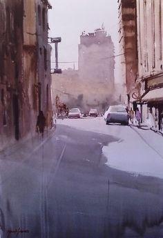 Manolo Jimenez - Galeria Watercolor Sketch, Watercolor Artists, Watercolor Landscape, Watercolor Paintings, Watercolors, Urban Painting, Artist Painting, Artist Art, Great Paintings