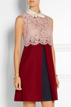 Valentino|Lace and wool and silk-blend crepe mini dress|NET-A-PORTER.COM