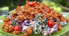 Raw Kale Slaw with BBQ Walnut Crumble