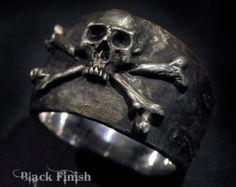 Anillo de calavera grande anillo de pirata cráneo y