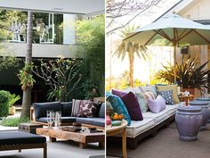 Outdoor Living - love the pillows on the right picture❣ Relicário ❣ - makemyworldburn.tumblr.com