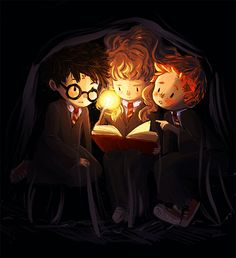 This depiction of Harry, Ron and Hermione in their first year is done expertly, the artist made their features more rounded and their facial expressions more innocent portraying the innocent mindset they had before the world around them begins to get darker, along with their thoughts.