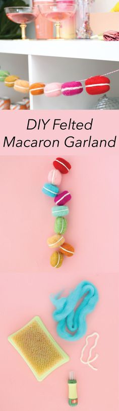 Felted macaron garland DIY