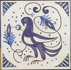 Jan Voich Designs - Handmade in Spain - Ceramic Tile - Mudejar Dove