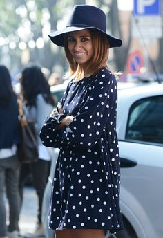 wide brimmed hat + pretty polka dots.