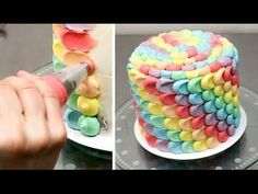How To Make a Rainbow Petal Cake Buttercream cake decorating by CakesStepbyStep - YouTube