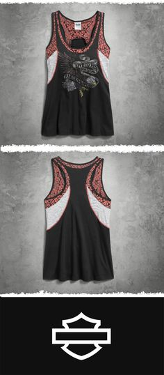 Try this women's sleeveless top with denim cutoffs and a hoodie. | Harley-Davidson Women's Mixed Media Tank #MothersDay